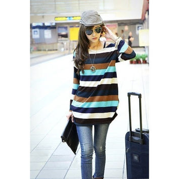 Fashion Women Slouchy T Shirts Casual Stripes Knitted Long Shirt Pullover Tops Multicolor One Size [8833595788]