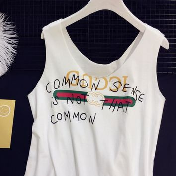 """Gucci""Hot Letters Print Sleeveless Vest T-Shirt Top I"