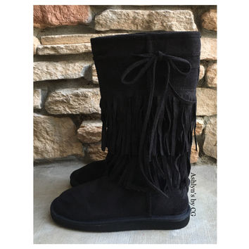 """Gotta Love Them"" Double Tier Mid Calf Black Fringe Boots"