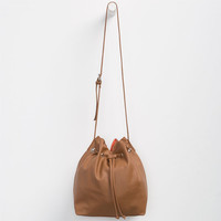 Faux Leather Bucket Bag Cognac One Size For Women 25124140901