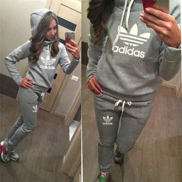 Adidas Cute Print Long Sleeve Jumpsuit Grey