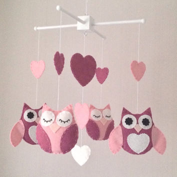 Baby Mobile - Owl, moon and stars - Crib Mobile - Cot Mobile - Owl Mobile - Nursery Decor