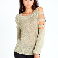 Metallic Slashed Sweater