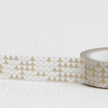 White and Gold Triangles Washi Tape, Pyramid Geometric Tape for Wrapping or Shop Branding, 15mm