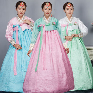 Hanbok Korean Dress Fashion Female Traditional Court Dress Minority Clothing Korean Traditional Dance for Show Asian Dress