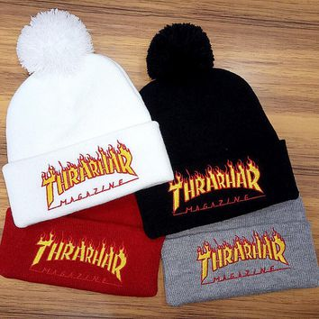 Thrasher Woman Men Embroidery Hiphop Beanies Winter Knit Hat Cap