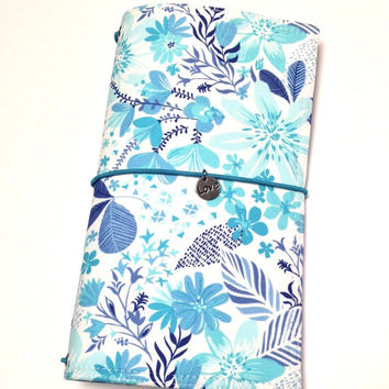 Fabric Fauxdori Travelers Notebook Travel Journal Planner Cover Midori  Moleskine book style cover with charm- Blue Flowers- Wide Size