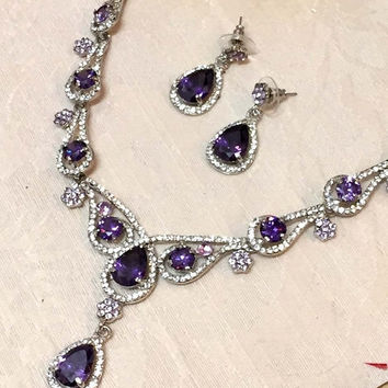 Bridal jewelry set, Wedding jewelry set, vintage inspired Purple crystal jewelry, Luxury CZ purple necklace earrings set, Victorian jewelry