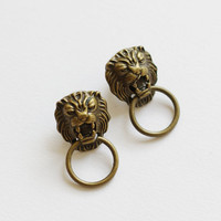 Chinese door lion lock boho chic earrings, vintage style stud earrings, with free gift box, solitaire minimalist fun oriental OOAK brass