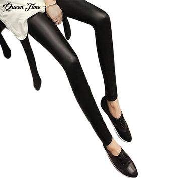 Black Women Leggings Faux Leather High Quality Slim Women's Leggings Bottoms plus size High elasticity sexy pants