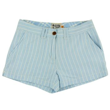 Women's Shorts in White and Carolina Blue Oxford Stripe by Olde School Brand - FINAL SALE