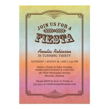 Ombre Fiesta Birthday Party Invitation from Zazzle.com
