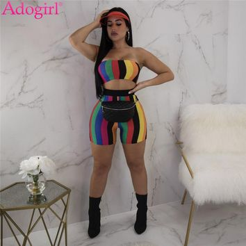 Adogirl Rainbow Stripe Two Piece Set Summer Women Suit Sexy Strapless Crop Top High Waist Fitness Shorts Female Tracksuit Outfit