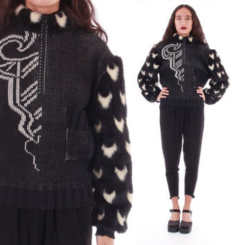 Faux Fur Sweater Avant Garde Jumper Made in France Black Fur Sleeved 80's 90's Goth Clothing Womens Size Medium