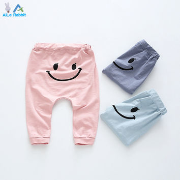 AiLe Rabbit New arrival spring and autumn newborn baby boy's clothing cartoon smiling face cotton girl's leggings kids clothes