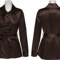 MY MICHELLE Satin Belted Jacket W/ Flounce (Brown)