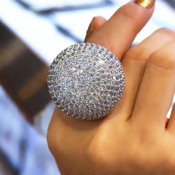 Big Size 6 10 11 12 13 Large Ball Crown Bright Rings For Women Full Dazzling Noble Ring Fashion Jewelry 2017