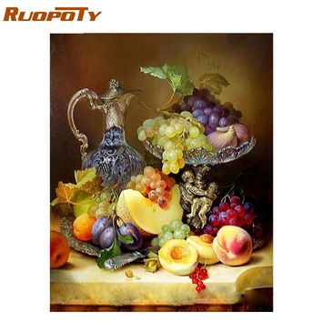 RUOPOTY Frame Fruits DIY Painting By Numbers Modern Wall Art Picture Paint By Number For Home Wall Decor Calligraphy Painting
