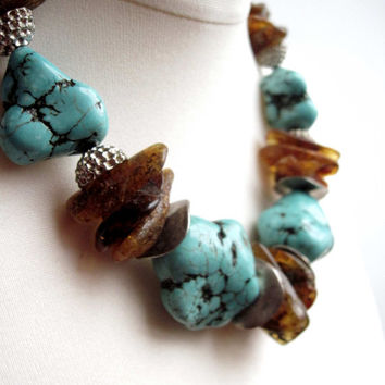 Chunky Baltic Amber Necklace Turquoise OOAK Statement Piece Jewelry Amber Howlite Extra Large Drak Honey Brown Teal Blue