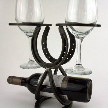 Bourbon + Boots Handcrafted Horseshoe Wine Rack Bottle Holder (Exclusive)