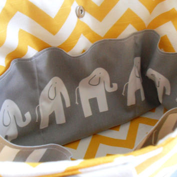 Extra Large Chevron Diaper bag Made of Yellow and White Chevron with Gray Elephant Fabric / Elastic Pockets