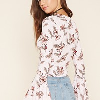 Bell-Sleeve Floral Print Top
