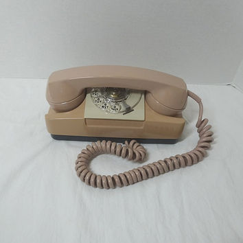 1973 Vintage Rotary Dial Princess Style Telephone in Beige, GTE, Non-Removable Cord, Vintage Dial Phone, Vintage Technology, 1973 Telephone