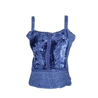 Mogul Women's Top Strap Blue Embroidered Bohemian Velvet Rayon Beach Tank Blouse S - Walmart.com