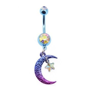 Womens Purple Blue Ombre CZ Crystal Moon Star Summer Belly Rings 1pc 14g