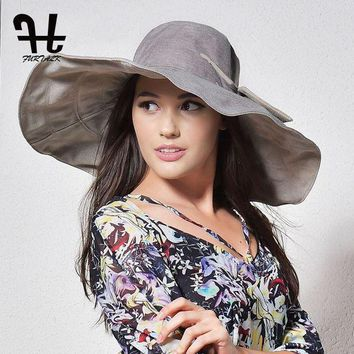 FURTALK summer hats for women with big brim double-sided foldable brimmed female beach sun hat with big bowknot