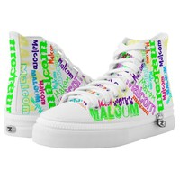 Hi Top Sneakers Personalized Name in colors Printed Shoes
