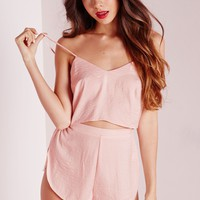 Missguided - Satin Cropped Pajama Set Blush