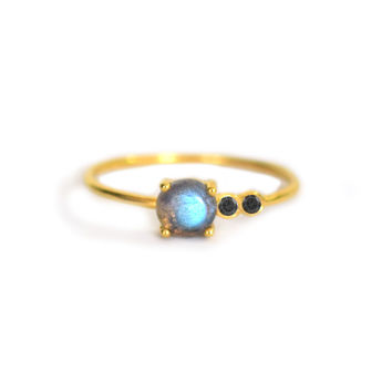 Labradorite and Diamond Fiesta Ring