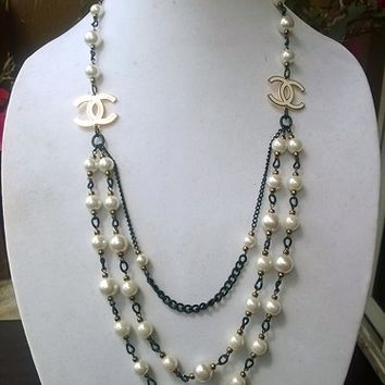 Gorgeous Designer Insp Vintage Style Old Hollywood Glam Pearl Necklace