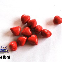 Tiny Redhot Heart Beads Handmade Polymer Clay Beads, Polymer Clay Beads for Sale, Jewelry Making Supplies, Novelty Beads