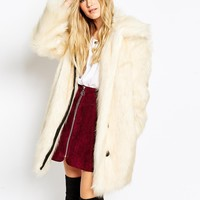 ASOS Coat In Faux Fur with Button Detail