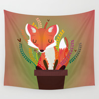 Fox Wall Tapestry by Maria Jose Da Luz