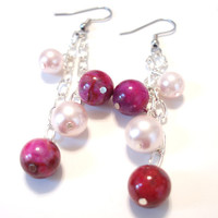 Pink Pearl Earrings, Dangle Earrings, Glass Pearls, Crazy Lace Agate