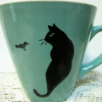 Cat Mugs Coffee or Tea Ceramic Pottery Hand Painted BLM