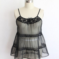 Vintage 60s Black Chiffon & Lace Tiered Ruffle Swing Camisole
