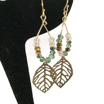 Crystal leaf earrings, brass leaf earrings, leaf jewelry, crystal jewelry, nature jewelry, wire-wrapped earrings, lacy leaf earrings, gift