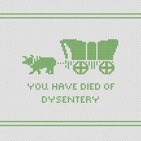 Oregon Trail Cross Stitch Pattern // You Have Died Of Dysentery Digital Download // X-Stitch Pattern // PDF // DMC // Computer Game Pattern