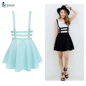 Retro Hollow Mini Skater Cute Women Suspender Skirts Straps High Waist Skirt
