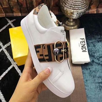 FENDI Trending Women Stylish Casual Flats Shoes Coffee