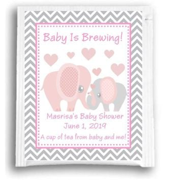 10 Pink Elephant Baby Shower Tea Favors
