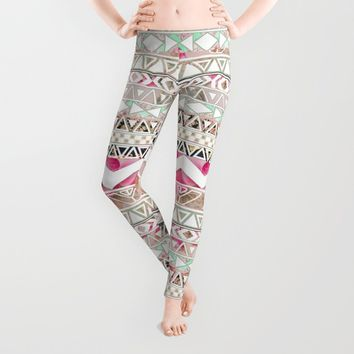Aztec Spring Time! | Girly Pink White Floral Abstract Aztec Pattern Leggings by Girly Trend