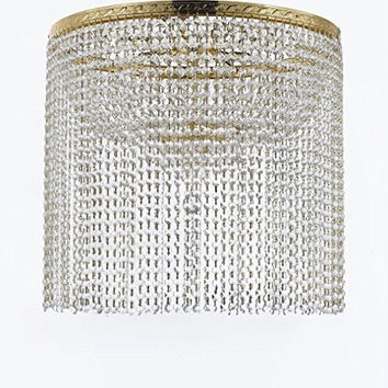 "French Empire Crystal Semi Flush Chandelier Chandeliers Lighting with Crystal Bead Shade / Curtain H26"" X W24"" - F93-FLUSH/B69/CG/870/9"