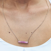 Purple Bar Necklace in Gold