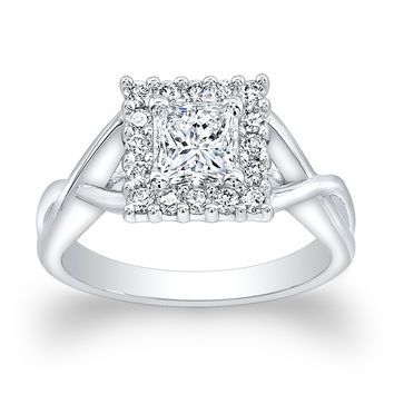 Ladies 18kt white gold engagement ring with 1.50ct Princess Cut white sapphire center and 0.25 ctw G-VS2 diamonds