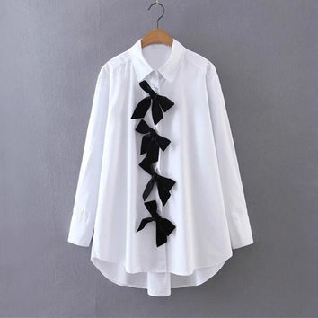 Silhouette Bow Contrast Color Blouse 2017 Vintage Summer White Blouses Fashion Button Women Shirt America and European Style